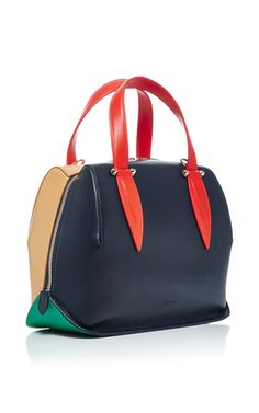 This **Delpozo** bag is crafted in calf leather with contrast top handle straps.