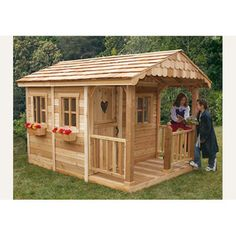 Found it at Wayfair - Outdoor Living Today Sunflower Playhouse with 3 Functional Window and Cedar Deck Porchhttp://www.wayfair.com/Outdoor-Living-Today-Sunflower-Playhouse-with-3-Functional-Window-and-Cedar-Deck-Porch-SP69-XQL1018.html?refid=SBP