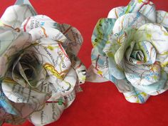 6 Map Roses, Paper Flower Roses, Bouquet, Paper Roses, Bridal Bouquet, Travel Wedding, Map Bouquet
