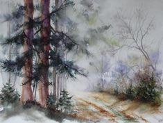 aquarelle,paysage,abby,arbres,sous-bois,forêt,hiver,brume,chemin,sapins