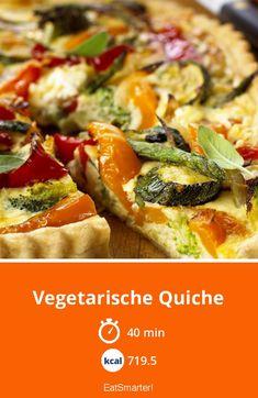 Vegetarische Quiche - smarter - Kalorien: 719.5 kcal - Zeit: 40 Min. | eatsmarter.de Quiche Recipes, Veggie Recipes, Vegetarian Recipes, Dinner Recipes, Healthy Recipes, Quiche Vegan, Low Carb Quiche, Quiches, Go Veggie