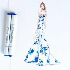 This might be my favorite dress of all time @moniquelhuillier #fashionsketch #fashionillustrator #fashionillustration #moniquelhuillier #moniquelhuillierresort #copicart #copicdesign #copicmarkers #porcelain