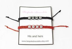 Personalise this handmade macrame couples bracelet as a gift to your other half. Perfect gift for Valentine's Day, birthdays or as an anniversary present. Click to shop now.