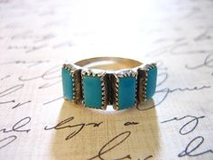 Vintage Sterling Silver Turquoise Band Ring by charmingellie, $42.00