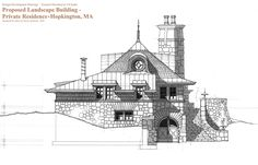 """Design Development Elevation Drawing for Small Cottage Building in Massachusetts. Rendered 3/8"""" Scale in Pen & Ink on White Tracing Paper with ChartPak AD markers on reverse side. Original Image Size is 30""""w. x 20""""h."""
