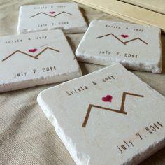 Mountain Love Wedding Favor Coasters,