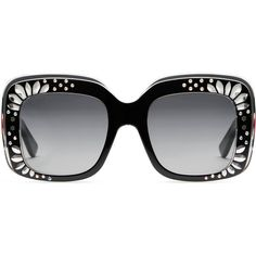 7b0ae67d8183 Gucci Oversize Square-Frame Rhinestone Sunglasses featuring polyvore  women s fashion accessories eyewear sunglasses black women