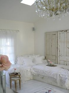 White bedroom with twin beds for 2 little girls up to a collage age girls Or guest room. Very pretty bedding....shabby chic style