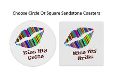 Kiss My Grits Coasters Funny Lip Stone Coaster Set Sandstone Absorbent Permanent Drink Gift for Her Southern Sass Pride Personalized Art by AdelynRoseBoutique on Etsy