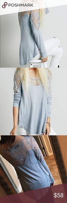 Free People New Romantics Pretty Pretty Tee Free People New Romantics Embroidered Pretty Pretty Top. Romantic long sleeve tee with sheer yoke, featuring floral elements. Swing silhouette. Gorgeous light purple/blue color. Last photo is the same top in white.  New Romantics- Dreamy fabrics, slubby textures, and ethereal sheer details come together to create New Romantics, a collection of pieces that are hand touched and hopelessly romantic. I hate to part with this but I have so many colors…