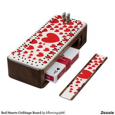 Red Hearts Cribbage Board