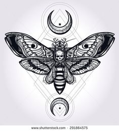 Death's head hawk moth with moons, geometry lines. Design tattoo art. Isolated vector illustration. Trendy Vintage element. Dark romance, philosophy, spirituality, occultism, alchemy, death, magic.