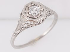Antique Engagement Ring Art Deco .30 Old European Cut Diamond-Minneapolis, MN filigreejewelers.com
