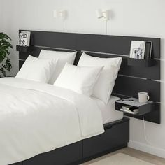 NORDLI Bed frame w storage and headboard - anthracite - IKEA