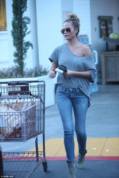 Foodie: Chrissy Teigen stocked up on groceries in Beverly Hills at upmarket Bristol Farms on Sunday