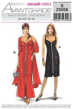 Sz 8 to 18 - Neue Mode Dress Pattern - Misses' Sleeveless Ruched Front Evening Dress and Wrap in Two Lengths - Neue Mode Stil Pattern Clothing Patterns, Dress Patterns, 1950s Fashion, Vintage Fashion, Costume Shop, Couture, Nice Dresses, Evening Dresses, Trending Outfits