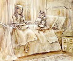 """Playing With Dolls...and Kitty"""" monotone reproduction of original sketch by Laurie Shanholtzer. When I was little, I would dress our cat in baby clothes and put him in a stroller for a walk. -~ Good cat! This was the inspiration for this monotone pastel. Good thing about monotones, they go with any color room decor and they have an""""old timey"""" feel about them"""