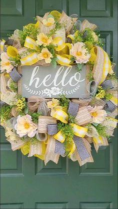 Tulle Wreath, Grapevine Wreath, Floral Wreath, Summer Door Wreaths, Wreaths For Front Door, Spring Wreaths, Summer Deco, Creative Box, Country Farmhouse Decor