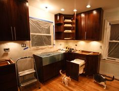 cabinet lighting, recessed lighting, trash can/recycle can cabinet drawer