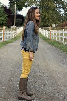 love the boots with the mustard pants and jean jacket