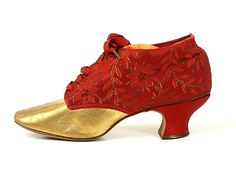 Gold Leather and Red Faille Lace-Up Shoes, USA, 1900-1919