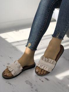Shop Ruffles Hem Casual Summer Slipper right now, get great deals at joyshoetique Bling Sandals, Cute Sandals, Cute Shoes, Me Too Shoes, Shoes Sandals, Flats, Heels, Summer Slippers, Summer Shoes