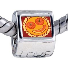 Pugster Bead Smiling Halloween Pumpkin Pie Beads Fits Pandora Bracelet Pugster. $12.49. Hole size is approximately 4.8 to 5mm. Fit Pandora, Biagi, and Chamilia Charm Bead Bracelets. Unthreaded European story bracelet design. Bracelet sold separately. It's the photo on the love charm