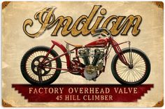 Indian Hillclimber Metal Sign