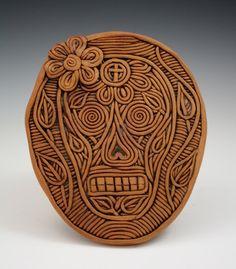 Lovely Lady Coil Built Ceramic Sugar Skull by KulshanClayworks, $120.00
