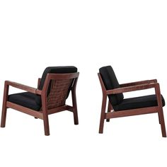 Carl-Gustav Hiort af Ornäs Pair Oak and Leather Armchairs, Finland, 1950s | From a unique collection of antique and modern armchairs at https://www.1stdibs.com/furniture/seating/armchairs/