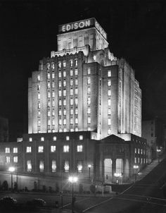 This is the Edison Building in downtown Los Angeles. It was the home the Southern California Edison Company, and was one of the first all-electrically heated and cooled buildings in the western United States. It's still stands in fine condition, but is now called One Bunker Hill.