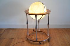 Elegant 16 illuminating globe by Replogle, a reputable maker; rolling base is made of beautiful wood and metal pillars. Mid century Globe / Light up globe / Danish Modern globe Mid Century Modern Lamps, Danish Modern, Globe Lights, Wood And Metal, Midcentury Modern, Old Lamps, Mid Century Danish, Beautiful Wood, Modern Lamp