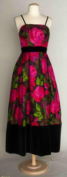 Rappi Silk Print Evening Gown, 1960s, Augusta Auctions, November 13, 2013 - NYC, Lot 91 Black silk twill w/ rose blossom print, black velvet hem & waistbands, labeled