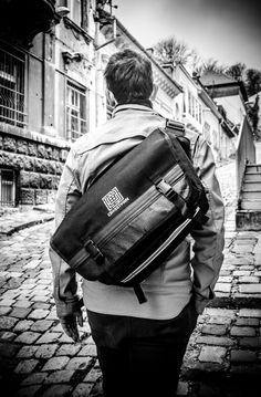 Waterproof Bicycle Messenger bag Black Canvas by Crosstownbags