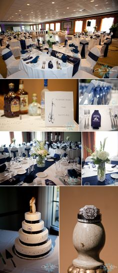Navy and white wedding details-love the table decorations with the white tablecloth and navy runner. Add some  mason jars with baby's breath and it's all set!