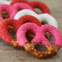 chocolate covered valentine pretzels