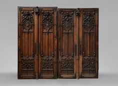 Beautiful Neo-Gothic style pair of double doors in walnut with rich carved decoration (Reference - Available at Galerie Marc Maison Entry Doors, Garage Doors, Antique Doors, Architectural Antiques, Gothic Architecture, French Decor, Library Ideas, Double Doors, Interior Doors