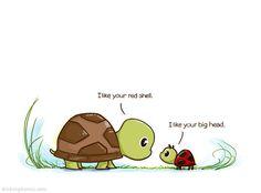 Fact: Ladybugs are mini turtles. Everything is a mini turtle. Cute Turtle Drawings, Cute Cartoon Drawings, Cute Animal Drawings, Turtle Quotes, Cute Turtles, Mini Turtles, Baby Poster, Turtle Images, Cute Puns