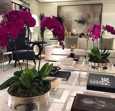 beautiful orchids in living room Home Living Room, Living Room Designs, Living Room Decor, Apartment Living, Living Room Inspiration, Home Decor Inspiration, Decor Ideas, Deco Floral, Luxury Living