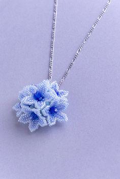 Beaded Flower Dome Pendant, Blue, 1405pe_blu