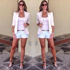 Look findi - short branco - short e blazer look de sábado