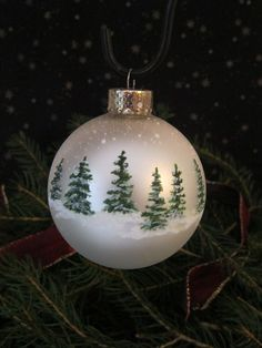 Handpainted Glass Christmas Ornament by ChristysCornerShop on Etsy #Ornaments
