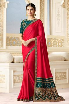Buy Adorable Deep Red Partywear Designer Blouse Sparkle Silk Saree at Rs. Get latest Embroidered, Partywear Saree for womens at Peachmode. Indian Designer Sarees, Indian Sarees Online, Designer Sarees Online, Silk Sarees Online, Fancy Sarees, Party Wear Sarees, Trendy Sarees, Sari Bluse, Vestidos