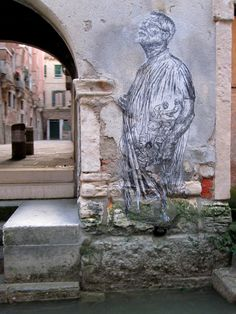 Linoleum block print on tracing paper, wheat pasted, Venice, Italy, 2009. Caledonia Curry / Swoon