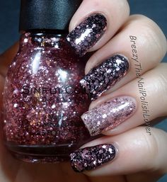 Sinful Colors - Glittery In Pink over black, and by itself.