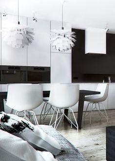 White & Black dining space design in Katowice, POLAND - archi group. Jadalnia w mieszkaniu w Katowicach.