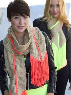 Free knitting pattern for Hot Point Scarf - Designed by Yarnspirations, neon details and trim make these scarves pop — but you can use whatever colors you want