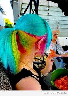 Love the rainbow hair! I wish the corporate world accepted crazy hair. :)