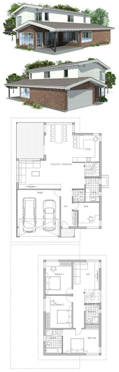 Modern House with covered terrace, three bedrooms and two living areas, Floor Plan from ConceptHome.com