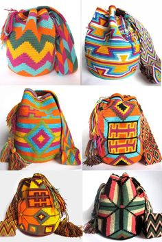 Handmade Colombian Wayuu Mochila Bags Only $75.00 the bag with FREE Shipping!   The quality can greatly vary as these Colombian wayuu bags but the best way to tell the quality of the stitch is how well the bag can stand on its own. These crochet Wayuu bags are made by Wayuu women, giving you a taste into the colorful life and history of its people. Mochilas Wayuu are inspired by the vivid colors that surround their region. Geometric figures are a signature on these mochila bags.